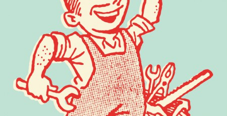 A cartoon happy mechanic in overalls holding a wrench showing great customer service with a tool box in background